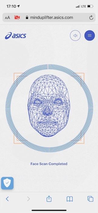 Asics Studie mit Bild für Facial Scan Mind Uplifter